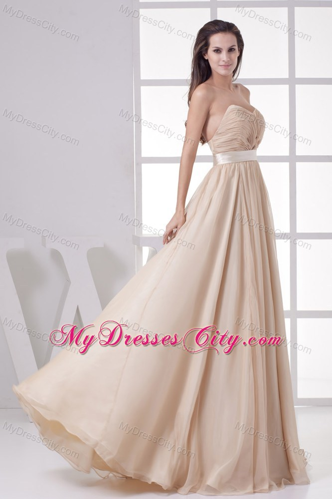 Cream Colored Ruched Sweetheart Dress for Pageant with Waistband ...