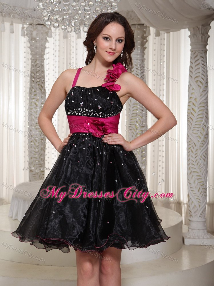 Beaded Organza Black Party Dress With Handmade Flowers