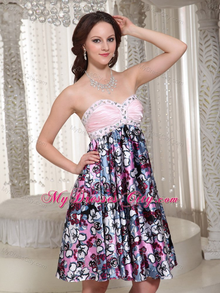Multi-color Sweetheart Printing Party Dress With Beading ...