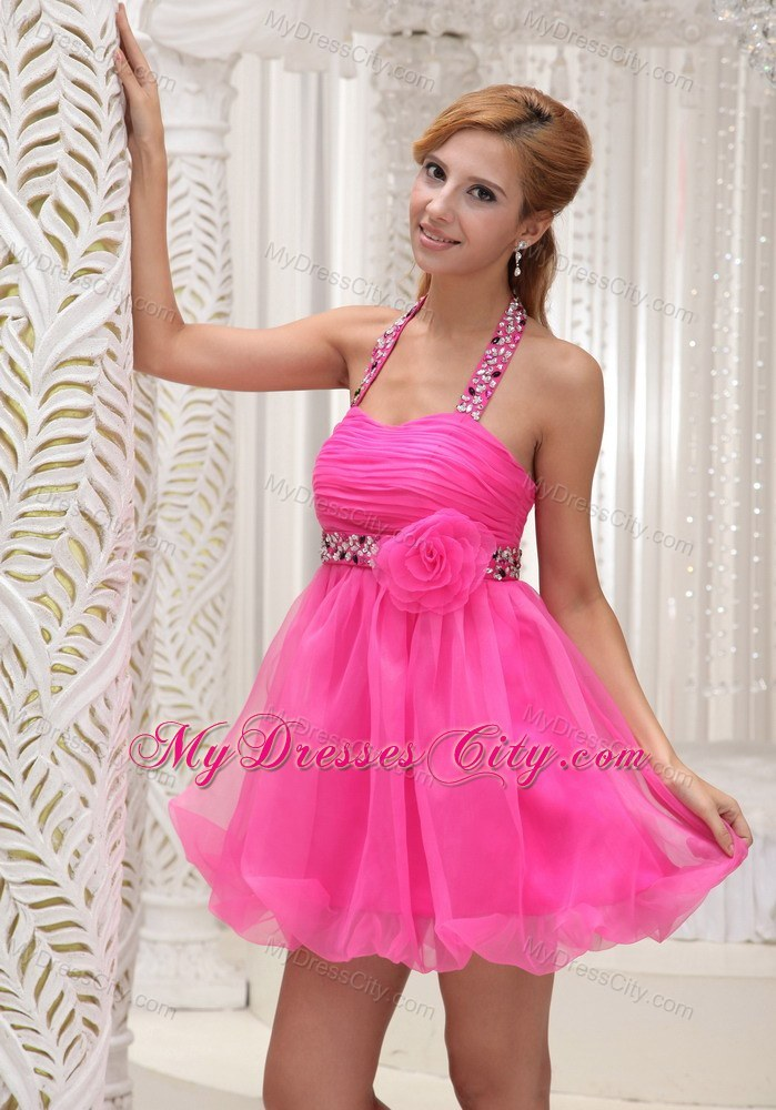 Beaded Decorate Halter Hot Pink Party Dress for 2013 ...