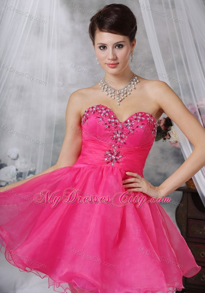 Hot Pink A-line Sweetheart Short Party Dress with Beading ...