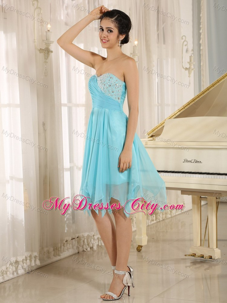 Sweetheart Aqua Short Party Dress With Beaded Decorate ...