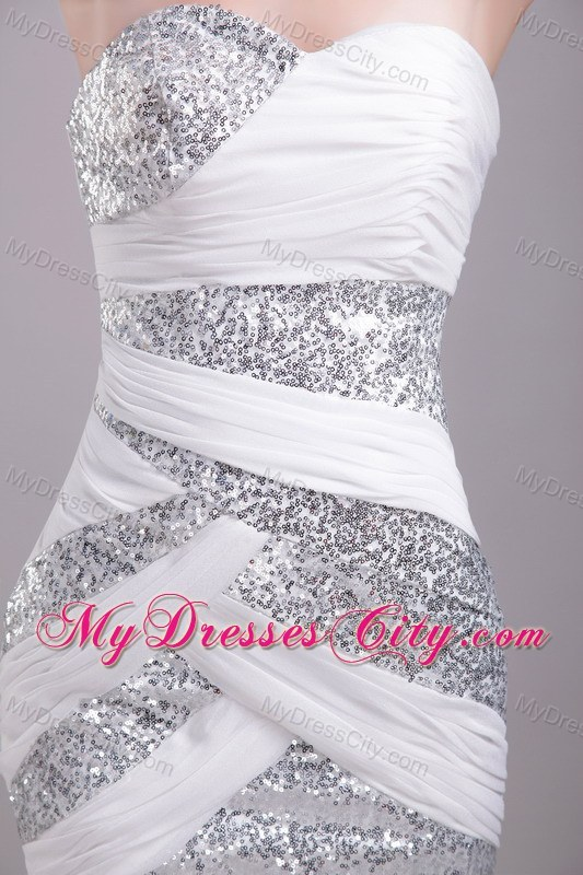 Sweetheart White Short Chiffon and Sequin Prom Party Dress ...