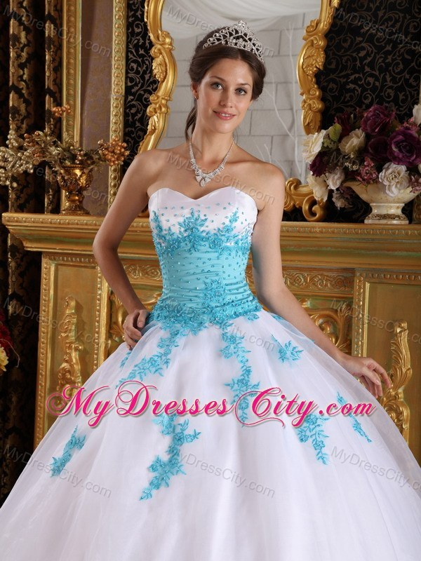White and Blue Sweetheart Appliques Organza Dress for ...