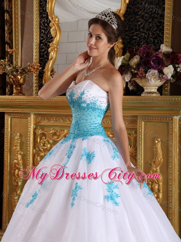 White and Blue Sweetheart Appliques Organza Dress for Sweet 16 ...