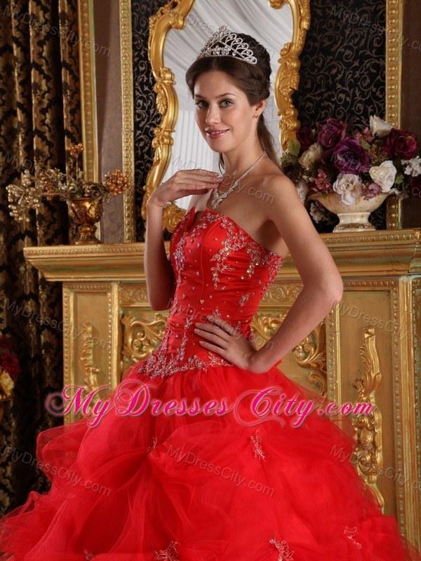 V cut red dress in pretty