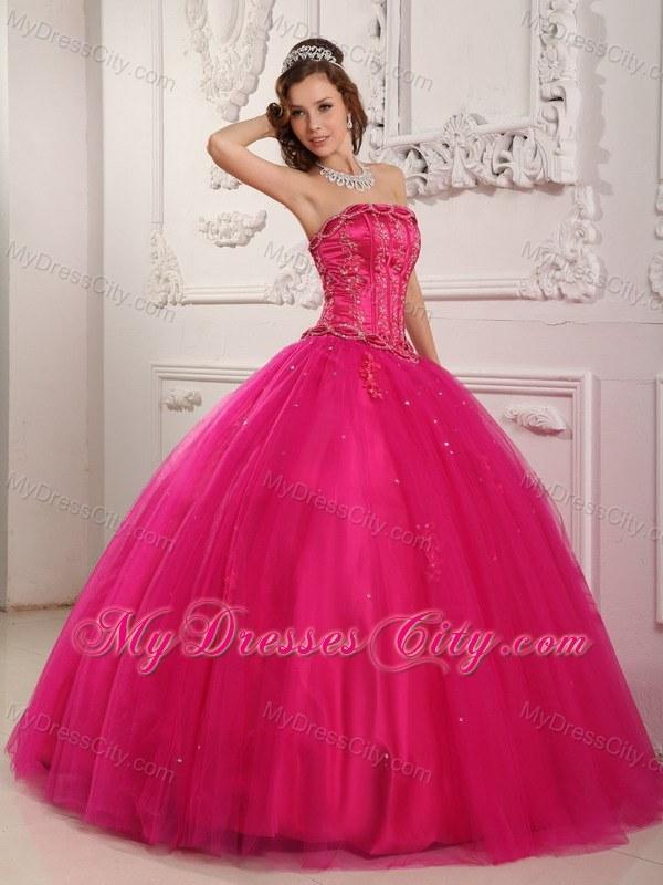 Elegant Beading Tulle Quinceanera Dress in Hot Pink - MyDressCity.com