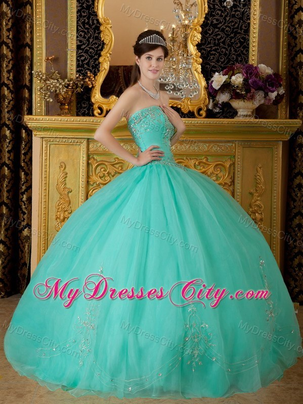 Turquoise Strapless Organza Quinceanera Dress with Beading ...