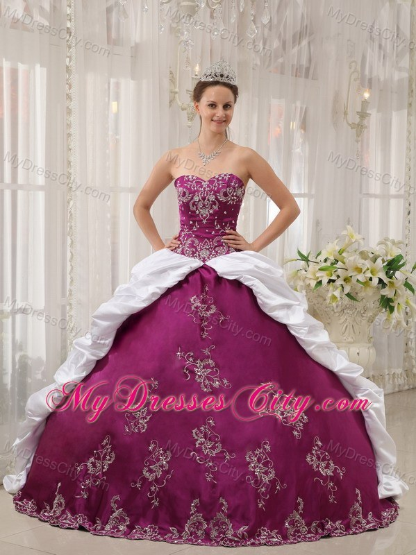 Purple and White Sweetheart Embroidery Dress for Sweet 15 ...