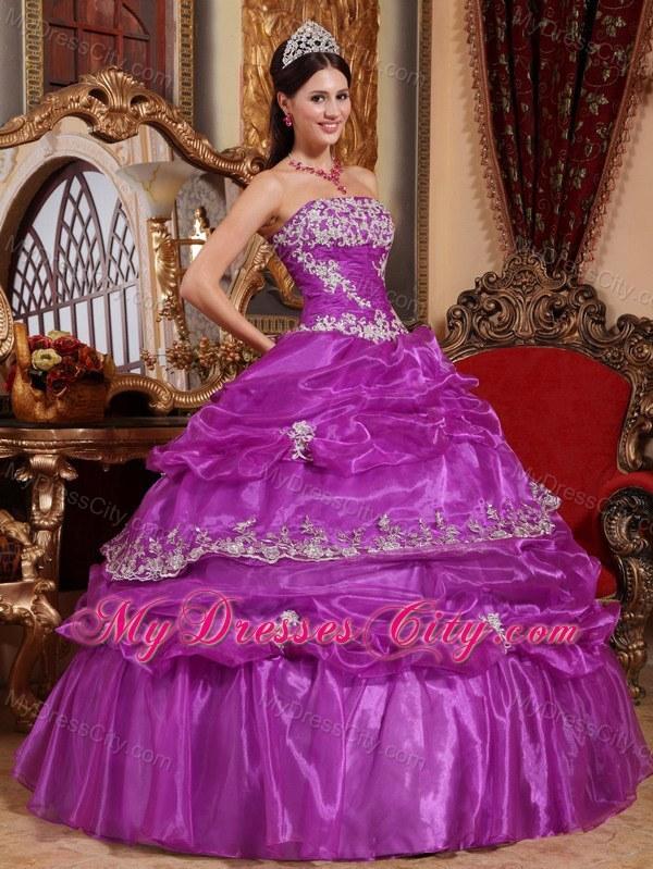 Organza Purple Corset Pick-ups Pretty Dress for Quince ...