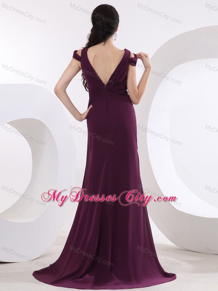 V-neck Brush Train Prom Dress with High Slit and Cap Sleeves