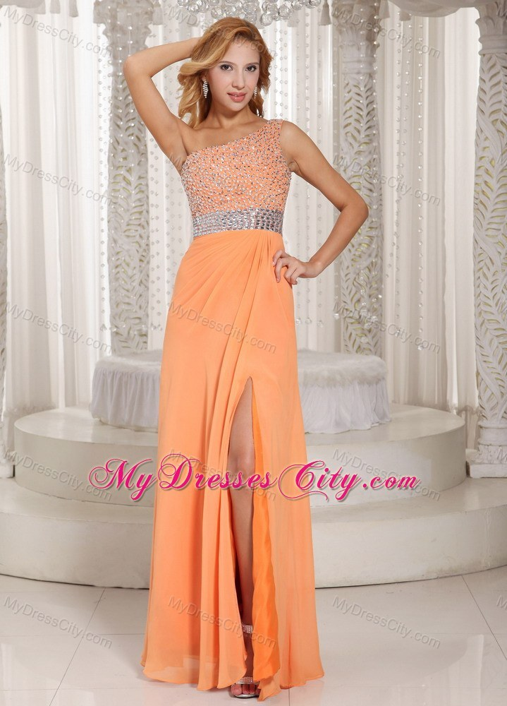 Orange One Shoulder Beaded Prom Gowns with Sider Zipper