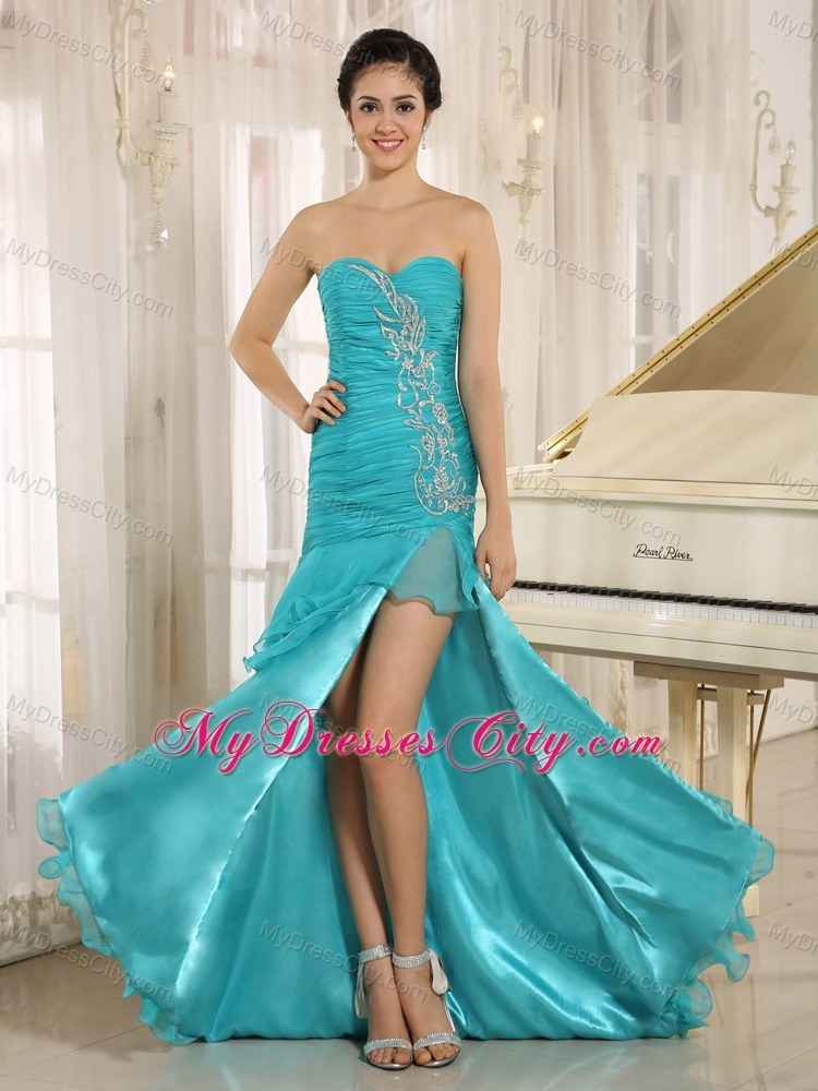 Aqua Blue High Slit Ruched Prom Dresses for Formal Parties ...