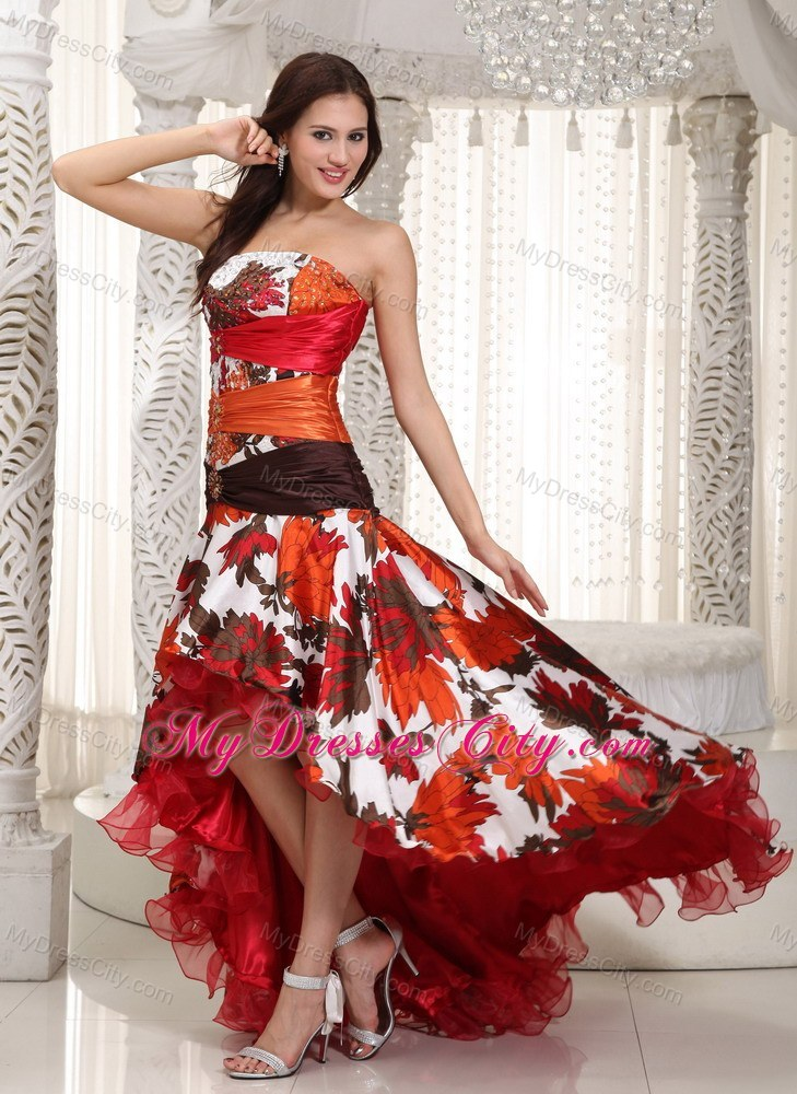 Colorful A-line High-low Organza Dropped Waist Prom Gown ...