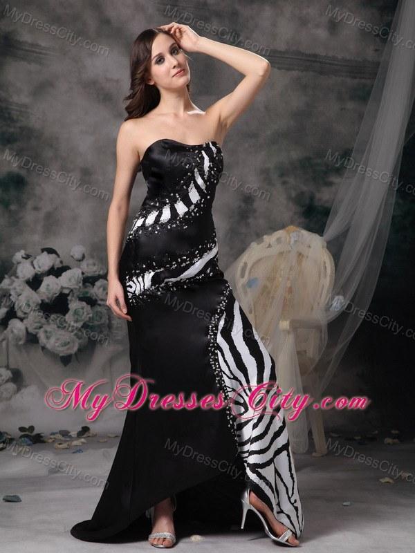 Luxurious Beading Brush Train Black Satin and Zebra Prom Dress ...