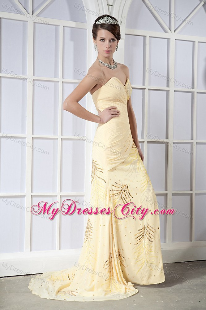 Sequined Light Yellow Sweetheart Chiffon Prom Dress With