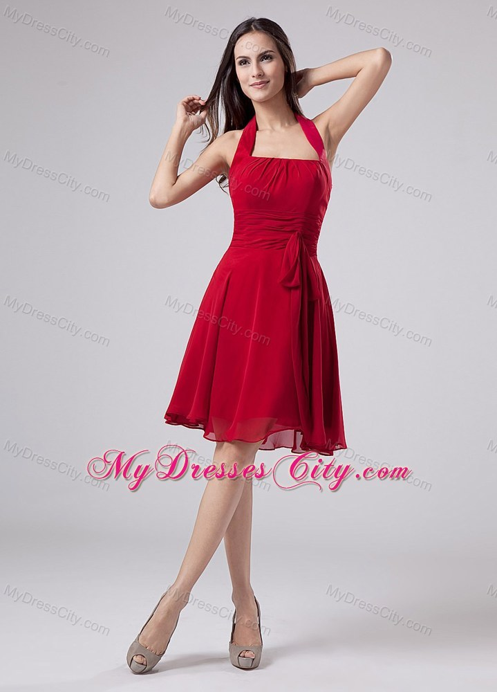 Halter Chiffon Red Ruched Homecoming Dresses with Sash for Party
