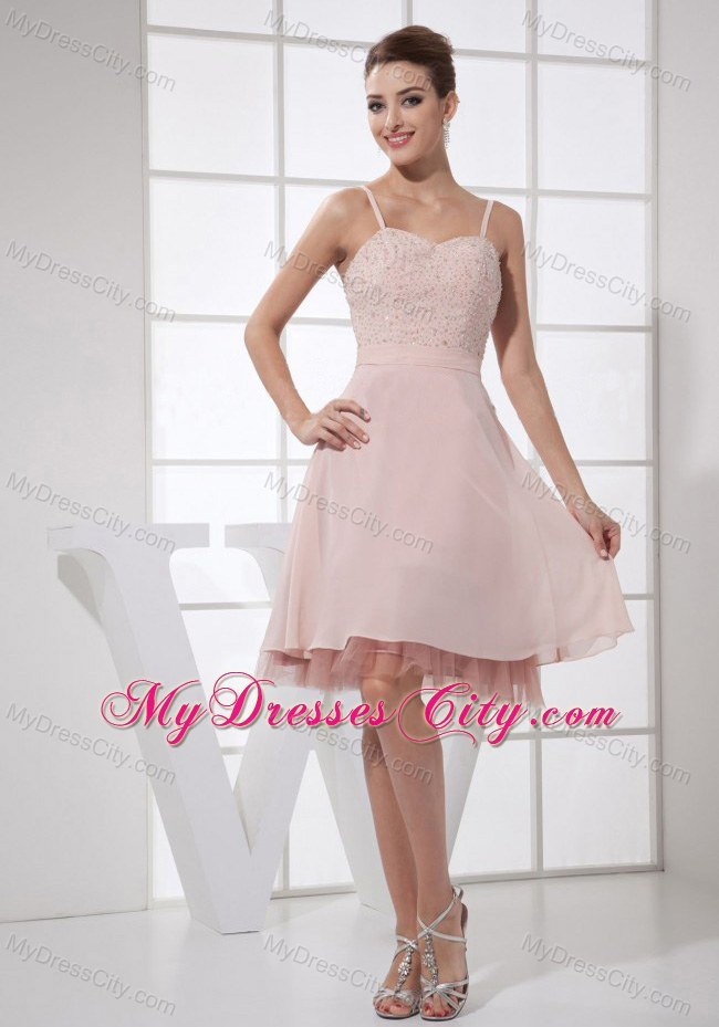Spaghetti Straps Light Pink Short Prom Dress With Beaded Bodice ...