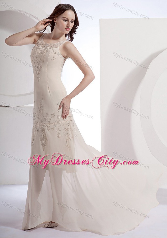 Scoop Champagne Beading Chiffon Brush Train Prom Dress - MyDressCity.com
