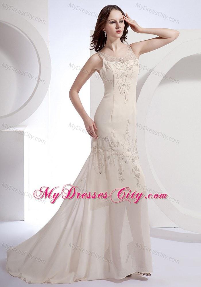 Scoop Champagne Beading Chiffon Brush Train Prom Dress - MyDressCity.com