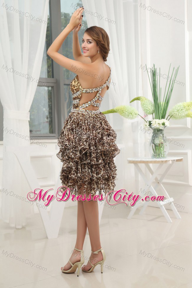 Leopard Beaded One Shoulder Short Prom Dress With Ruffled Layers ...