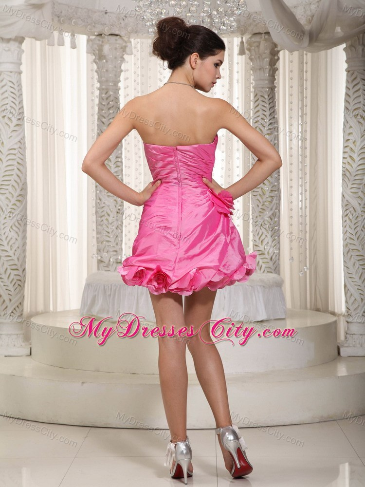 Sexy Pink Pleated Prom Dress With Sweetheart Mini-length ...
