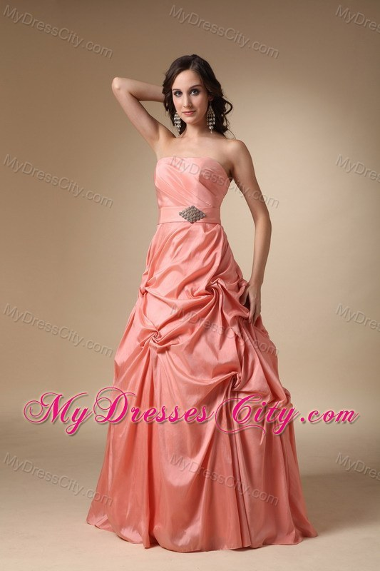 Rust Red Strapless Taffeta Pick-ups and Beading Prom Gowns ...