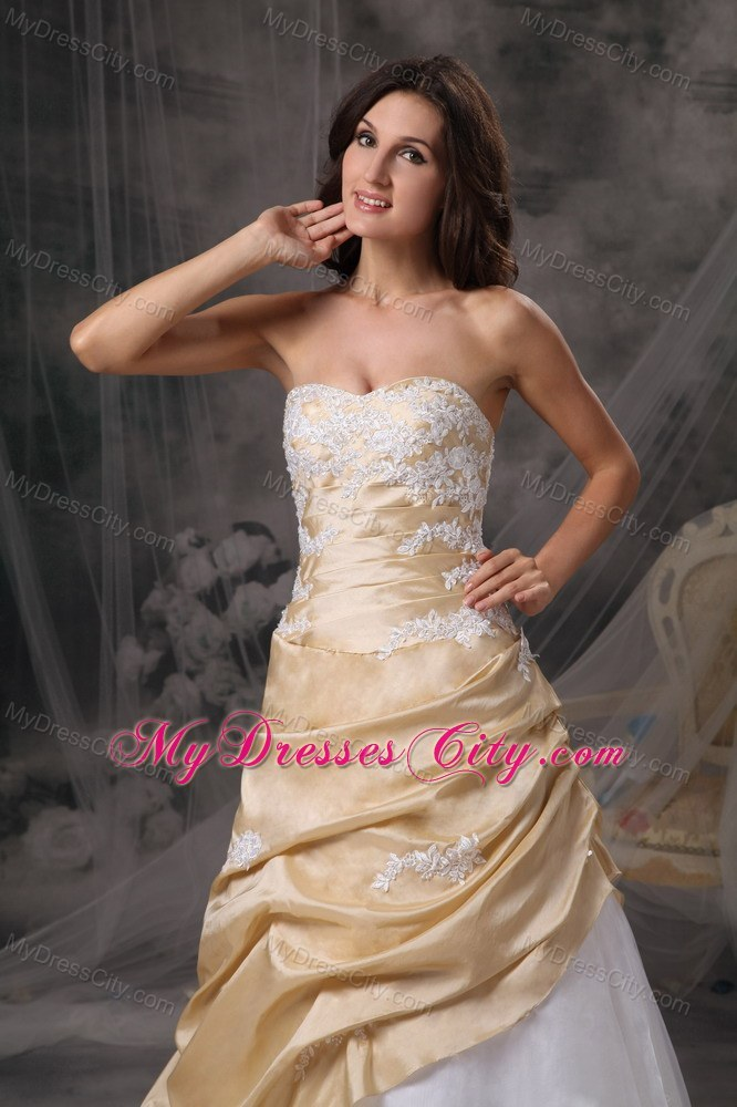 Gold and White Sweetheart Prom Dress with Appliques - MyDressCity.com