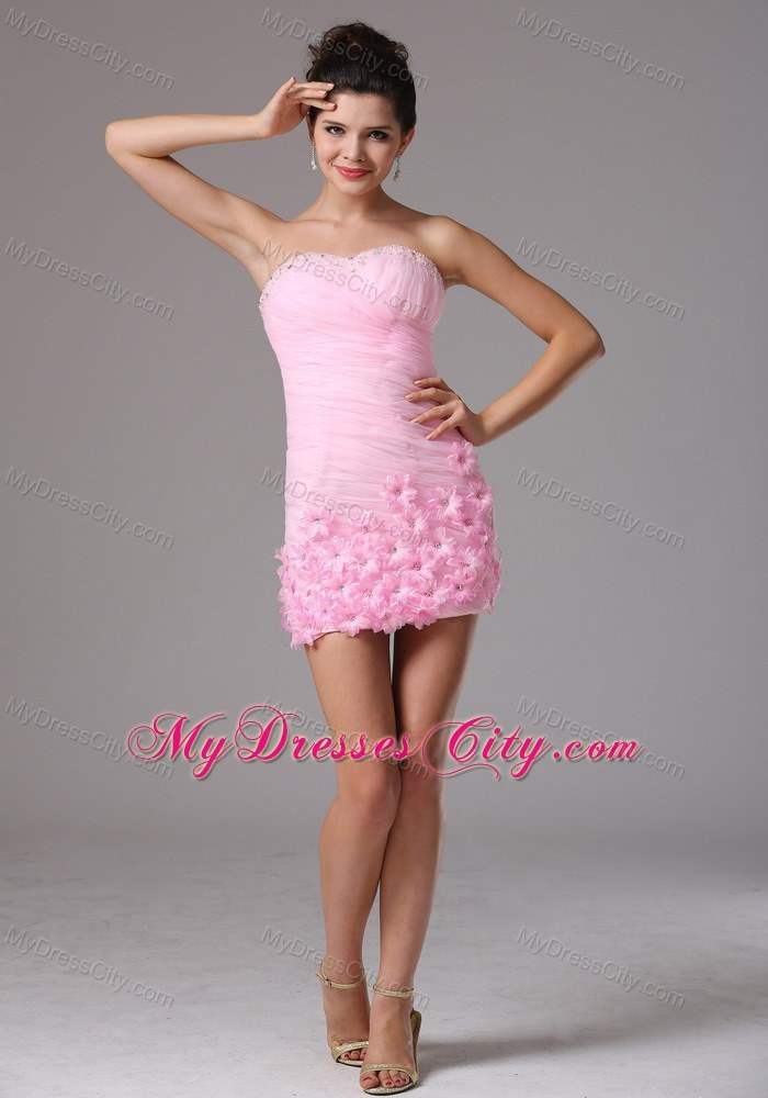 Baby Pink Column Hand Made Flowers Mini-length Dress for Prom ...