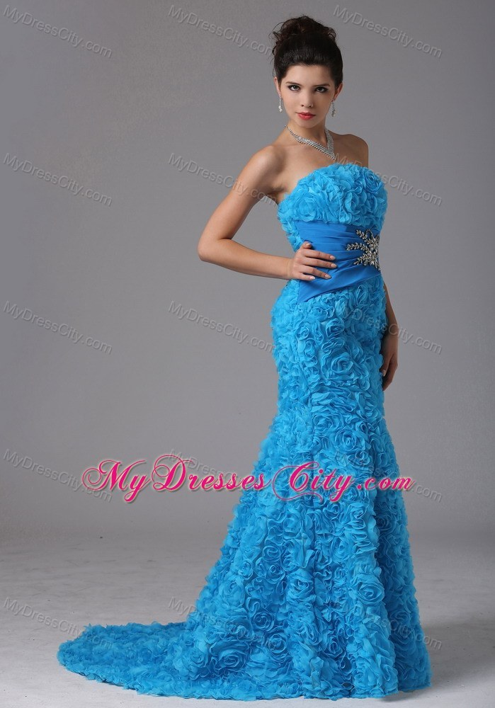 Baby Blue Rolling Flower Beading Prom Dress With Brush Train ...