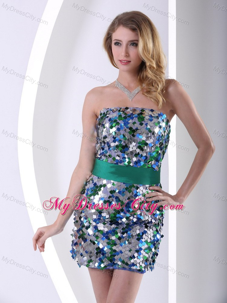 Paillette Over Skirt Column Mini-length Prom Dress With Belt ...