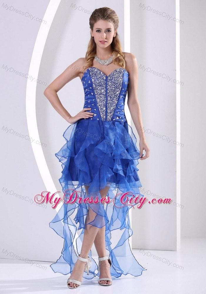 asymmetrical ruffle prom dress