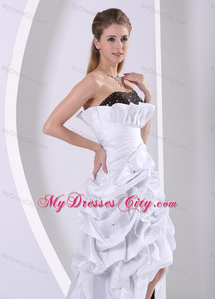 Beaded and Pick-ups High-low Prom Dress With Taffeta Brush Train ...