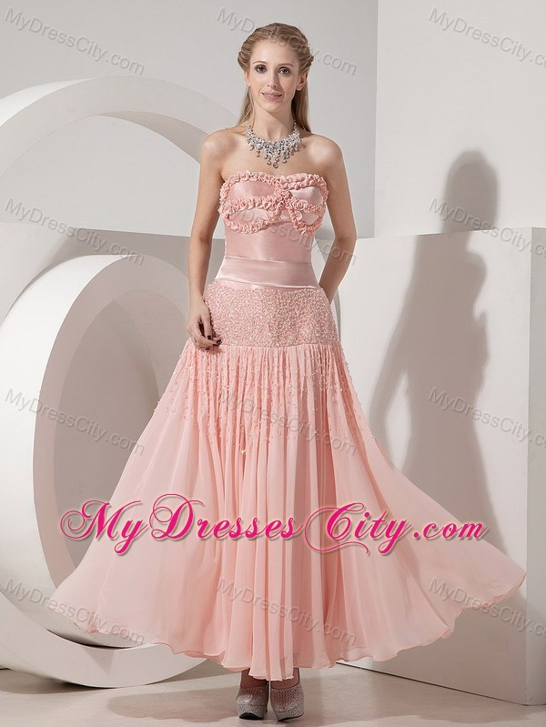 Strapless Light Pink Column Ankle-length Beaded Prom Dress ...