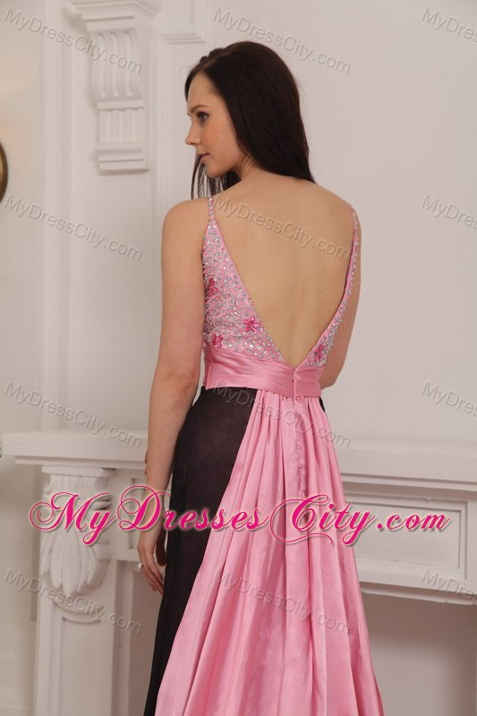 Pink and Black Column Straps Brush Train Beaded Prom Gown ...