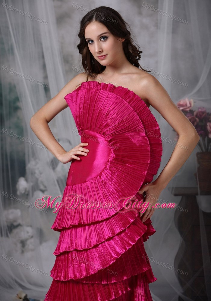 Hot Pink Taffeta Floor Length Prom Gown With Exaggerated Pleats