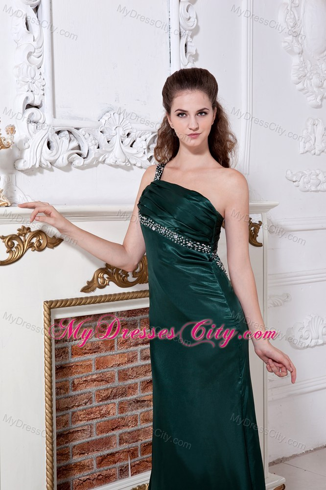 One Shoulder Ruch and Beading Back Out Satin Green Prom Dress ...