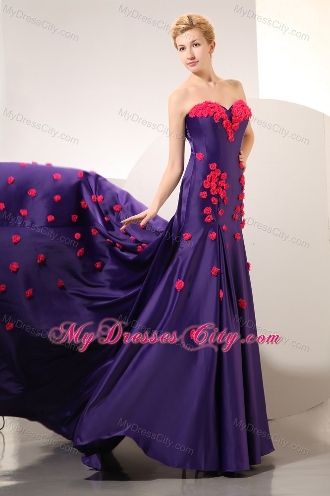 purple sweetheart prom dress with chapel train and