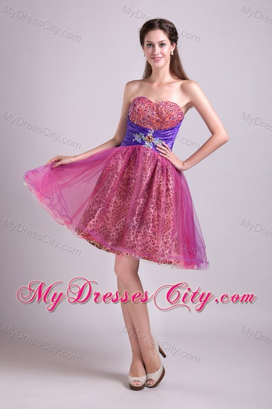 Leopard Sweetheart Beading Short Back Out Layers Prom Dress ...