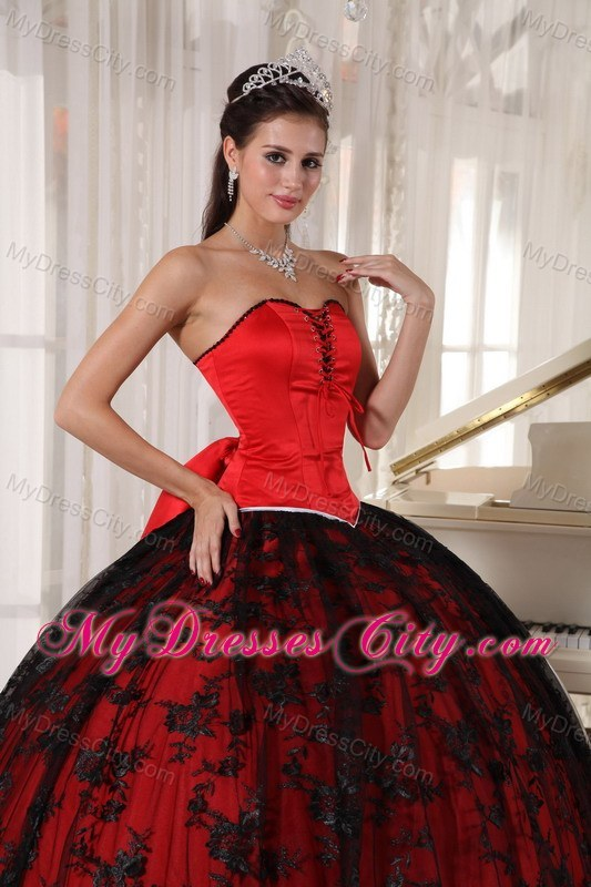 red and black ball gown lace sweet 15 dress with