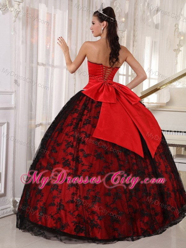 Red and Black Ball Gown Lace Sweet 15 Dress with Sweetheart ...