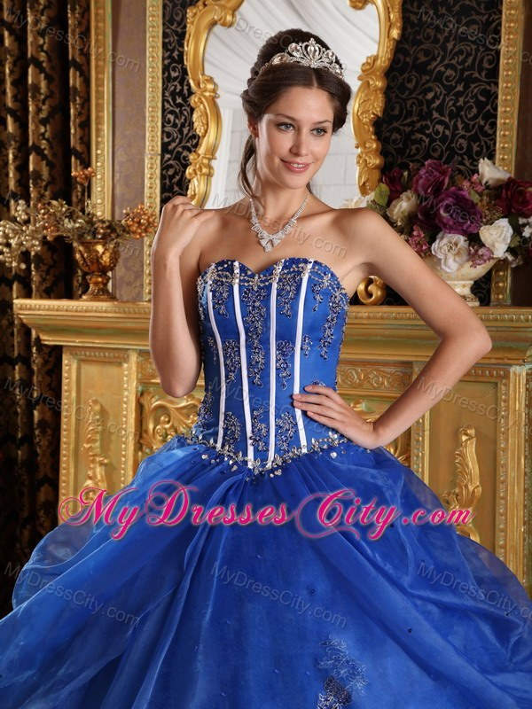 Royal Blue Sweetheart Quinceanera Dress with Appliques Organza