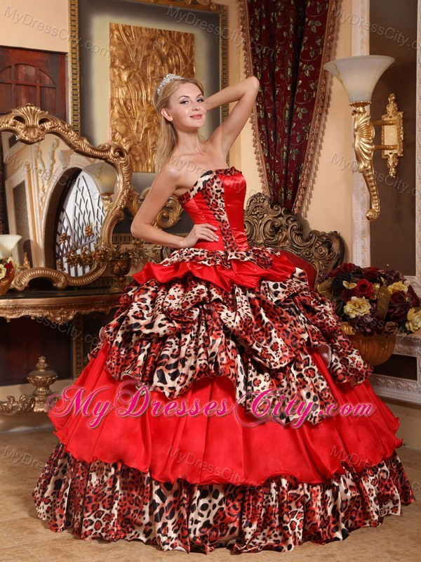 Red Organza Leopard 2013 Quinceanera Dress With Pick Ups Puffy
