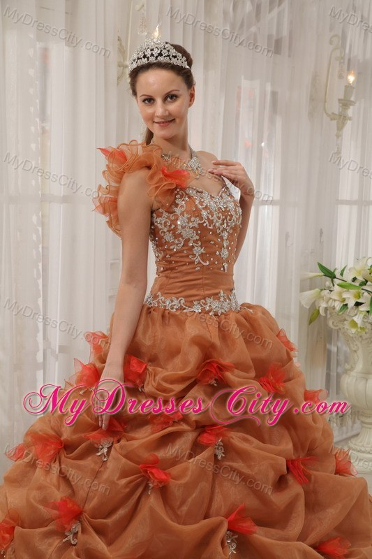 2013 Modest One Shoulder Pick-ups Brown Flowers Sweet 16 Dress