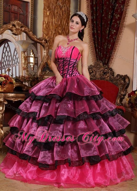 ... Cheap Multi-color Ruffled Layers Zebra Quinceanera Dress on Sale ... 937ea127f