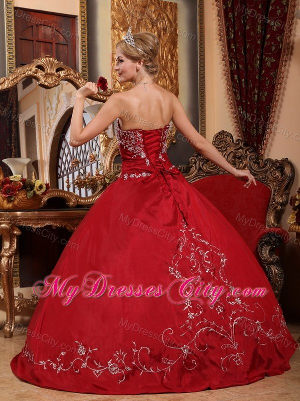 Wine Red Strapless Appliques 2013 Quinceanera Dress Online