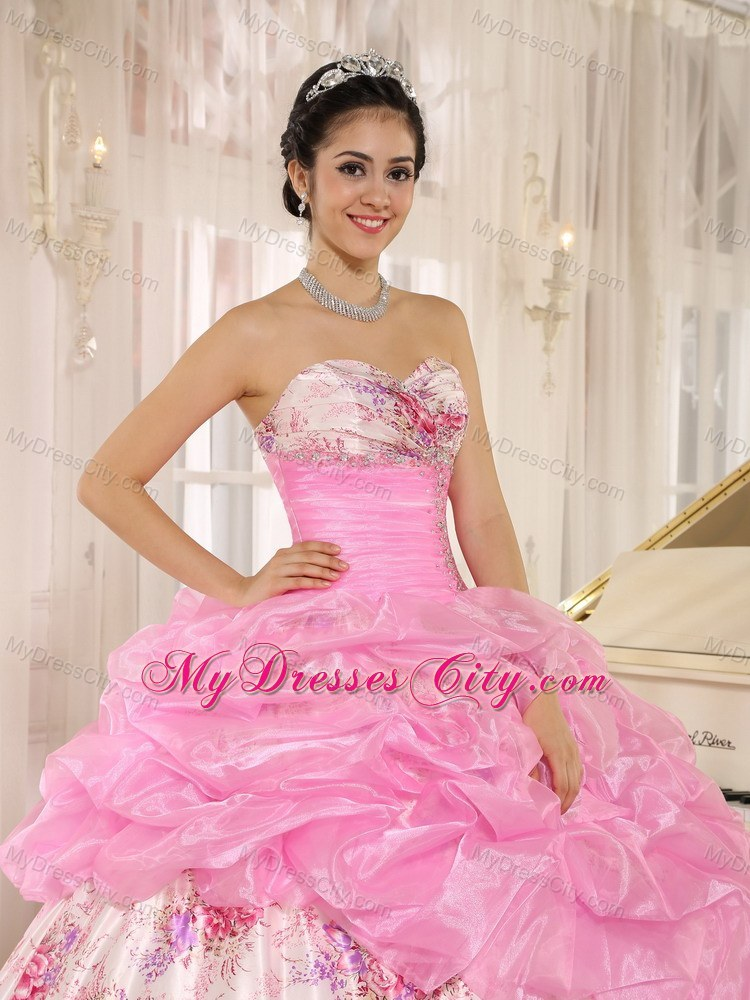 Beautiful Printing and ruches Rose Pink 2013 Sweet Sixteen Dress