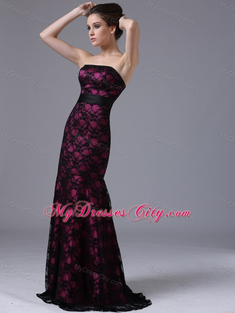 Sexy Column Sweep Train Lace Evening Dress with Lace-up Back ...