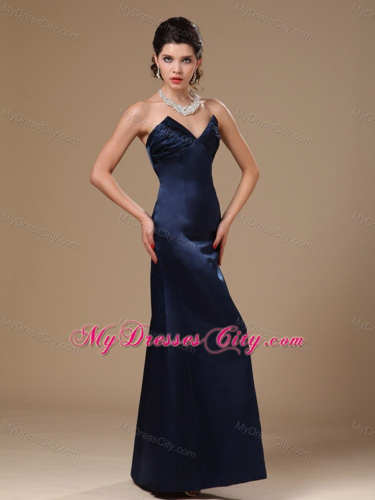 Navy Blue Satin Column V-neck Formal Evening Prom Gowns ...