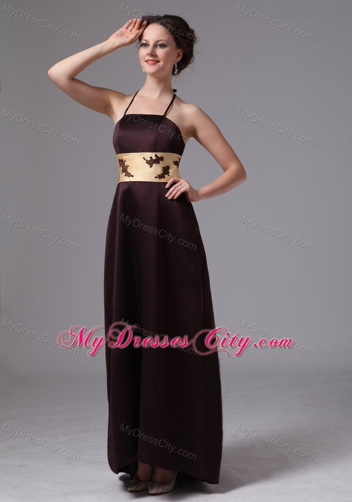 brown belt with appliques spaghetti straps prom evening